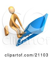 Clipart Illustration Of An Orange Person With His Feet Up On The Door Yanking A Handle And Trying To Pass Through