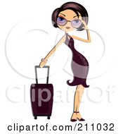 Stylish Woman Adjusting Her Shades And Standing By Her Rolling Suitcase