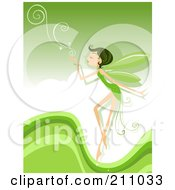 Royalty Free RF Clipart Illustration Of A Pixie Blowing Swirls Over A Green Background