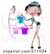 Royalty Free RF Clipart Illustration Of A Pretty Woman Holding Up Clothes In Front Of A Mirror