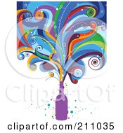 Royalty Free RF Clipart Illustration Of Colorful Waves Bursting From A Purple Bottle by BNP Design Studio