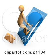 Clipart Illustration Of A Desperate Orange Person By A Briefcase Pushing His Body Against A Door To Try To Open It