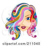 Royalty Free RF Clipart Illustration Of A Beautiful Blue Eyed Woman With Colorful Hair
