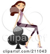 Royalty Free RF Clipart Illustration Of A Stylish Brunette Woman Sitting On A Club Playing Card Symbol