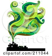 Royalty Free RF Clipart Illustration Of Green Smoke Waves Rising From A Silhouetted Factory by BNP Design Studio