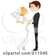 Royalty Free RF Clipart Illustration Of A Young Wedding Couple Embracing About To Kiss Or Dance