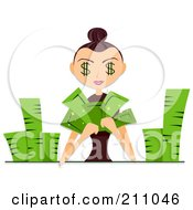 Royalty Free RF Clipart Illustration Of A Woman With Dollar Eyes Counting Piles Of Cash