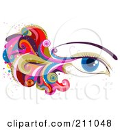 Royalty Free RF Clipart Illustration Of A Womans Blue Eye With Colorful Waves And Swirls by BNP Design Studio