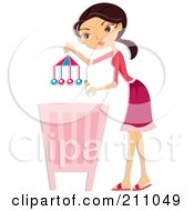 Royalty Free RF Clipart Illustration Of A Young Mother Holding A Toy Over A Baby Crib