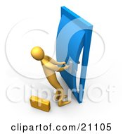 Clipart Illustration Of An Orange Person By A Briefcase Struggling To Open A Stuck Door