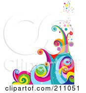 Royalty Free RF Clipart Illustration Of A Colorful Swirly Wave Background Over White 1 by BNP Design Studio