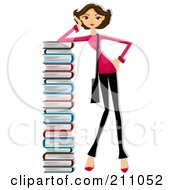 Brunette Woman Leaning Against A Very Tall Stack Of Books