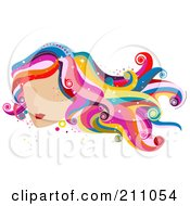 Royalty Free RF Clipart Illustration Of A Womans Face With Red Lips And Colorful Wavy Hair