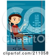 Royalty Free RF Clipart Illustration Of A Young Businsesman Smoking A Cigarette And Talking On A Cell Phone In An Office