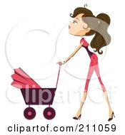 Royalty Free RF Clipart Illustration Of A Pretty Brunette Mother Walking With A Baby Stroller