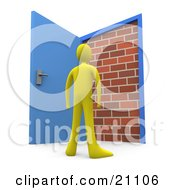 Yellow Person Standing At An Open Door Only To Find A Brick Wall Yet Another Obstacle