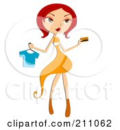 Royalty Free RF Clipart Illustration Of A Pretty Red Haired Woman Buying A Shirt With A Credit Card