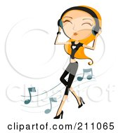 Royalty Free RF Clipart Illustration Of A Happy Blond Woman Dancing And Holding Onto Headphones