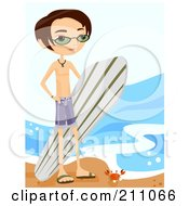 Young Surfer Guy Carrying His Surfboard And Standing By A Crab On The Beach