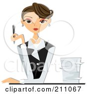 Royalty Free RF Clipart Illustration Of A Beautiful Brunette Businesswoman Sitting At A Desk With A Stack Of Paperwork by bnpdesignstudio