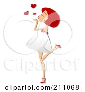 Pretty Red Haired Woman Blowing Heart Kisses In A White Dress
