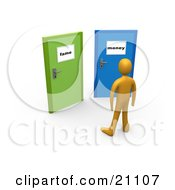 Clipart Illustration Of An Orange Person Standing Before Two Closed Doors One Leading To Fame The Other Leading To Money by 3poD