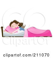 Royalty Free RF Clipart Illustration Of A Relaxed Brunette Woman Sleeping With A Pink Pillow And Blanket