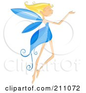 Royalty Free RF Clipart Illustration Of A Beautiful Blond Pixie With A Blue Dress And Wings by BNP Design Studio