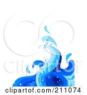 Blue Wave Splash Background Over White - 1