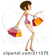 Royalty Free RF Clipart Illustration Of A Pretty Brunette Woman Pointing And Carrying Shopping Bags