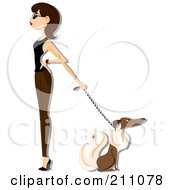 Royalty Free RF Clipart Illustration Of A Stylish Woman Walking A Dog
