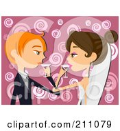 Royalty Free RF Clipart Illustration Of A Young Bride And Groom Drinking Wine After A Wedding Toast