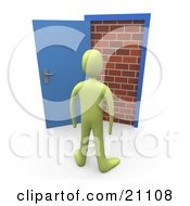 Clipart Illustration Of A Green Person Facing An Obstacle A Brick Wall Through An Open Door