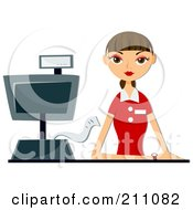 Royalty Free RF Clipart Illustration Of A Bored Brunette Cashier Woman At A Counter