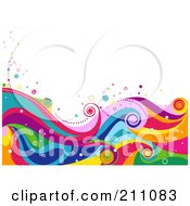Royalty Free RF Clipart Illustration Of A Colorful Swirly Wave Background Over White 5 by BNP Design Studio