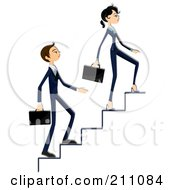 Royalty Free RF Clipart Illustration Of A Young Business Woman And Man Walking Up Stairs