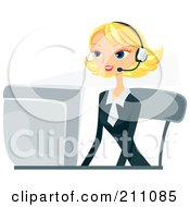 Royalty Free RF Clipart Illustration Of A Pretty Blond Businesswoman Wearing A Headset And Working On A Computer Desk