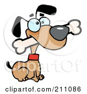 Royalty Free RF Clipart Illustration Of An Alert Brown Dog Sitting With A Bone In His Mouth