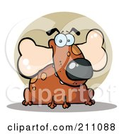 Royalty Free RF Clipart Illustration Of A Fat Brown Dog With A Bone In His Mouth