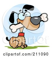Royalty Free RF Clipart Illustration Of A Brown Dog Sitting With A Bone In His Mouth