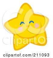 Royalty Free RF Clipart Illustration Of A Happy Grinning Yellow Star Face