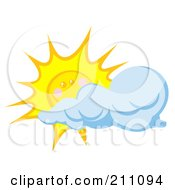 Royalty Free RF Clipart Illustration Of A Cloud Moving In Front Of A Happy Sun by Hit Toon