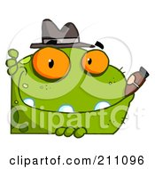 Royalty Free RF Clipart Illustration Of A Mobster Frog With A Hat And Cigar by Hit Toon