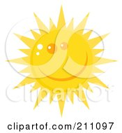 Royalty Free RF Clipart Illustration Of A Happy Sun Face With A Smile by Hit Toon
