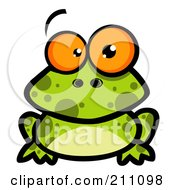 Royalty Free RF Clipart Illustration Of A Goofy Spotted Frog With Big Orange Eyes by Hit Toon