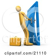 Clipart Illustration Of An Orange Person By A Briefcase Struggling To Yank Open A Door That Is Stuck In The Frame