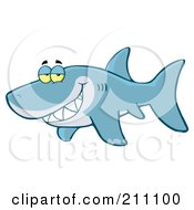 Royalty Free RF Clipart Illustration Of A Blue Shark Flashing A Flirty Smile by Hit Toon