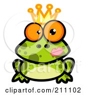 Crowned Frog Prince With A Lipstick Kiss On His Cheek