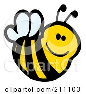 Royalty Free RF Clipart Illustration Of A Cute Cartoon Smiling Bee by Hit Toon