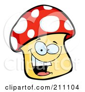 Royalty Free RF Clipart Illustration Of A Happy Mushroom Character Smiling